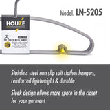 HOUZE PVC Coated Metal Hanger (Set of 5) (Grey)