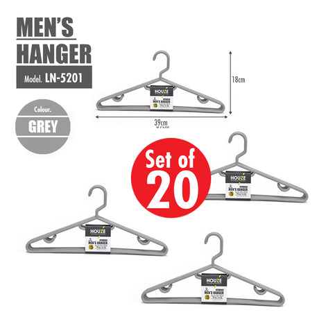 [20PCS] HOUZE Men's Hanger - Grey - HOUZE - The Homeware Superstore