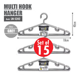 [15PCS] HOUZE Multi Hook Hanger - Grey - HOUZE - The Homeware Superstore