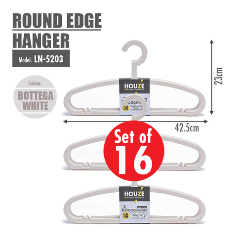 [16PCS] HOUZE Round Edge Hanger - Bottega White - HOUZE - The Homeware Superstore