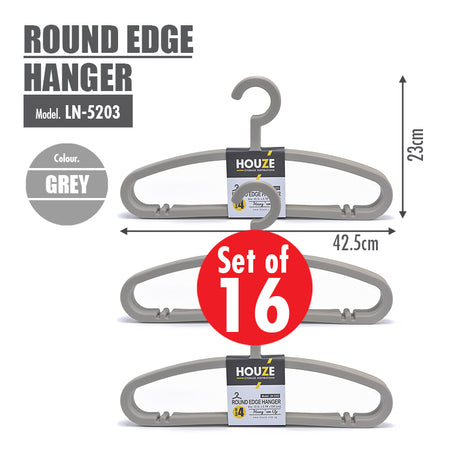 [16PCS] HOUZE Round Edge Hanger - Grey - HOUZE - The Homeware Superstore