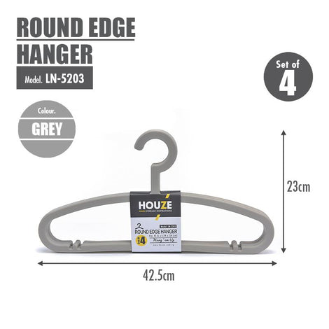 HOUZE - Round Edge Hanger (Set of 4) (Grey) - HOUZE - The Homeware Superstore