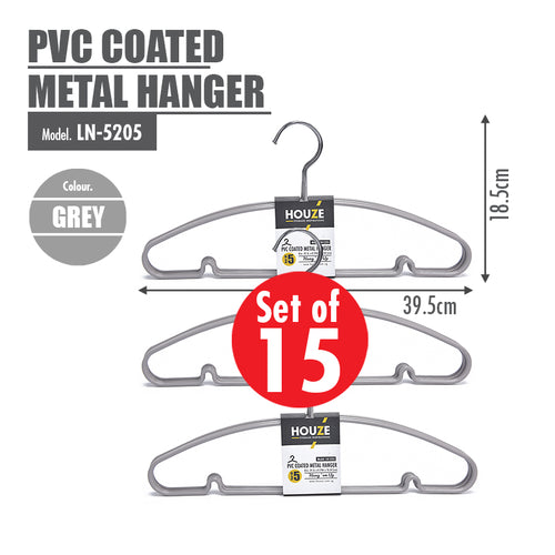 [15PCS] HOUZE PVC Coated Metal Hanger - Grey - HOUZE - The Homeware Superstore