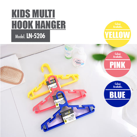 HOUZE - Kids Multi Hook Hanger (Set of 5) (Pink) - HOUZE - The Homeware Superstore