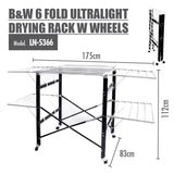 HOUZE B&W 6 Fold Ultralight Drying Rack with Wheels - HOUZE - The Homeware Superstore