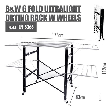 HOUZE - B&W 6 Fold Ultralight Drying Rack with Wheels - HOUZE