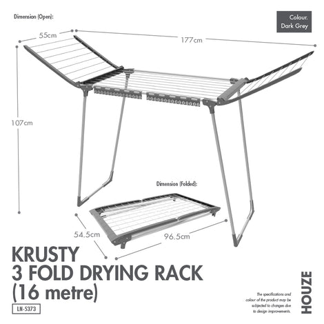 HOUZE - Krusty 3 Fold Drying Rack (16 Metre) - HOUZE - The Homeware Superstore
