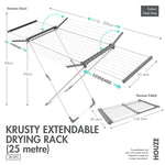 HOUZE - Krusty Extendable Drying Rack (25 Metre) - HOUZE - The Homeware Superstore