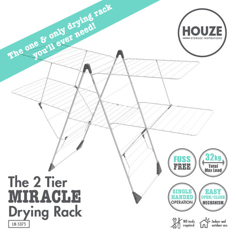 HOUZE - The 2 Tier Miracle Drying Rack - HOUZE - The Homeware Superstore