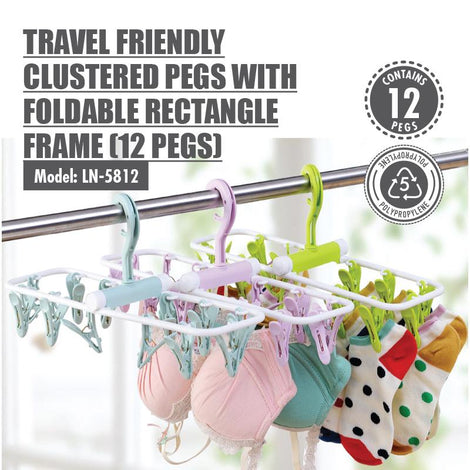 HOUZE - Travel Friendly Clustered Pegs with Foldable Rectangle Frame (12 Pegs)
