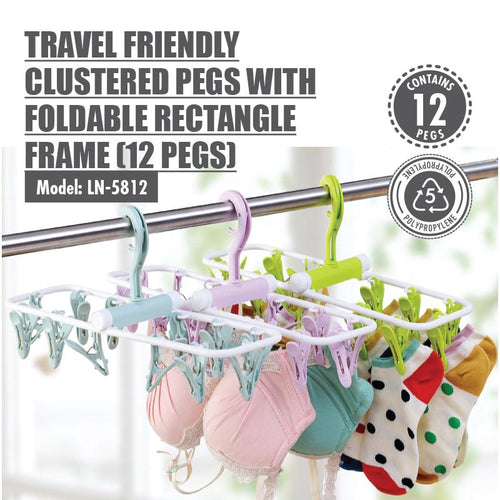 HOUZE - Travel Friendly Clustered Pegs with Foldable Rectangle Frame - HOUZE - The Homeware Superstore