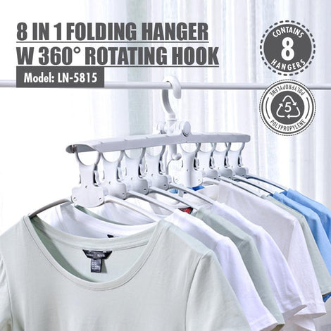 [BUY 1 FREE 1] 8 in 1 Folding Hanger with 360 degree Rotating Hook - HOUZE - The Homeware Superstore