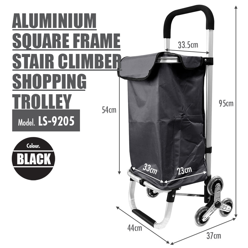 HOUZE - Aluminium Frame Stair Climber Shopping Trolley (Black) - HOUZE - The Homeware Superstore