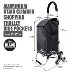 HOUZE - Aluminium Stair Climber Shopping Trolley with Front (Black) - HOUZE - The Homeware Superstore