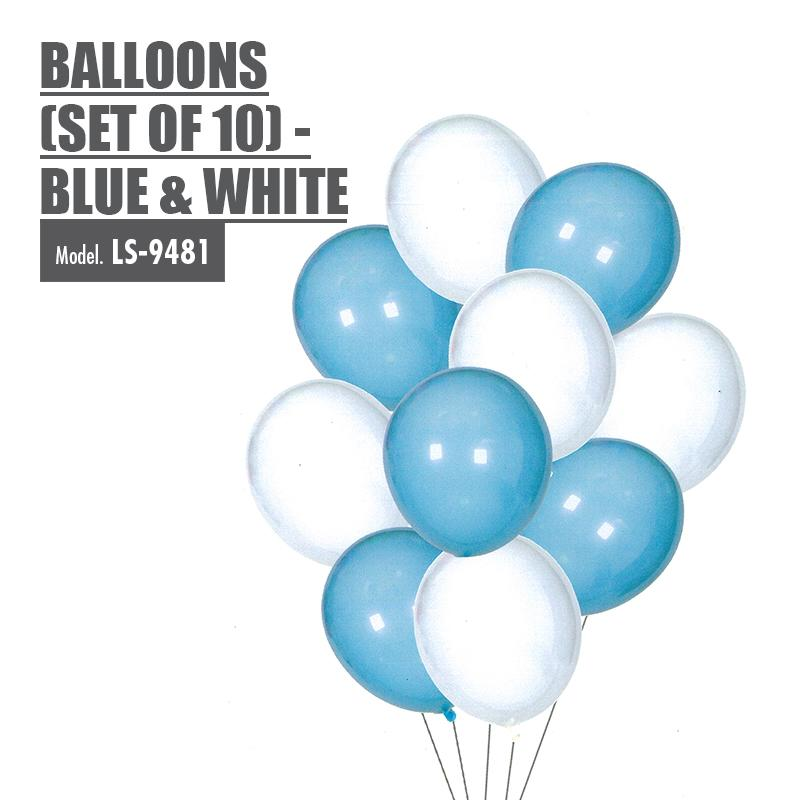Balloons (Set of 10) - Blue & White - HOUZE - The Homeware Superstore