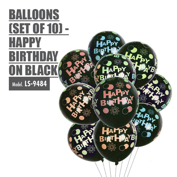 Balloons (Set of 10) - Happy Birthday on Black - HOUZE - The Homeware Superstore