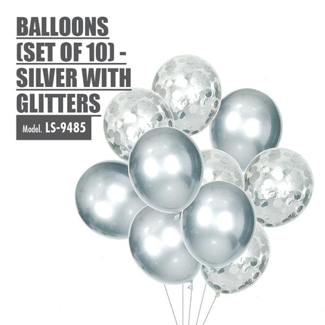 Balloons (Set of 10) - Silver with Glitters