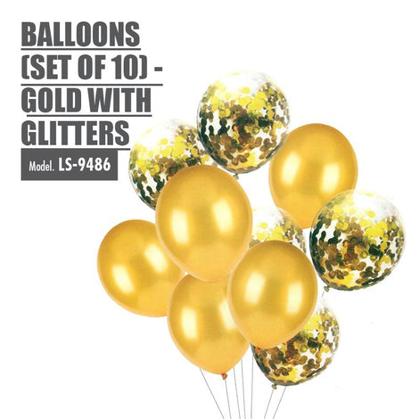 Balloons (Set of 10) - Gold with Glitters - HOUZE - The Homeware Superstore