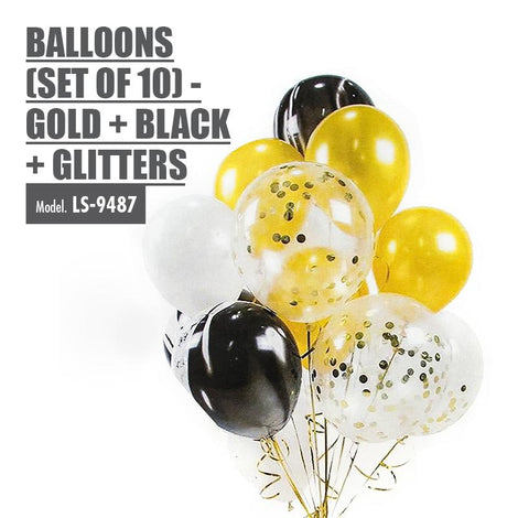 Balloons (Set of 10) - Gold + Black + Glitters