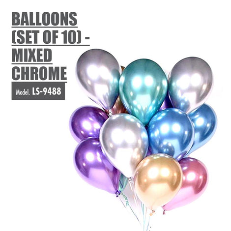 Balloons (Set of 10) - Mixed Chrome - HOUZE - The Homeware Superstore