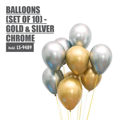 Balloons (Set of 10) - Gold & Silver Chrome