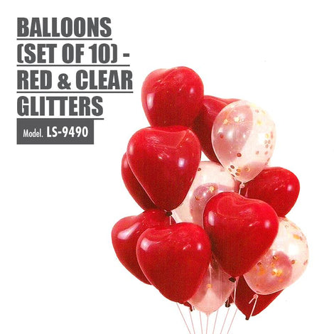 Heart Shaped Balloons (Set of 10) - Red & Clear Glitters