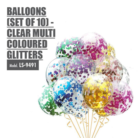 Balloons (Set of 10) - Clear Multi Coloured Glitters