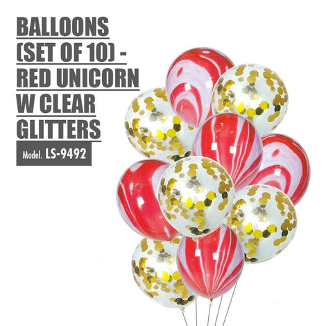 Balloons (Set of 10) - Red Unicorn with Clear Glitters