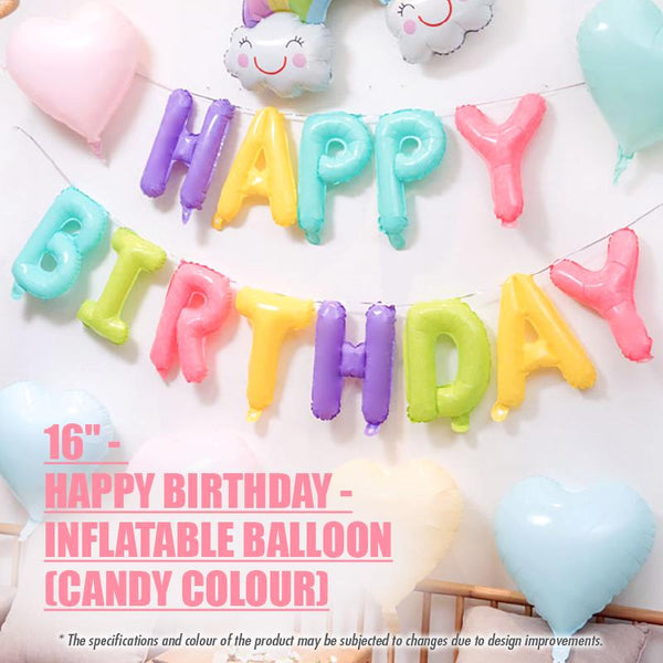 "16"" -HAPPY BIRTHDAY- Inflatable Balloon - Candy Colour - HOUZE - The Homeware Superstore"