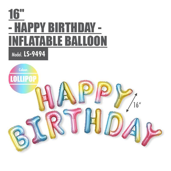 "16"" -HAPPY BIRTHDAY- Inflatable Balloon - Lollipop Colour - HOUZE - The Homeware Superstore"