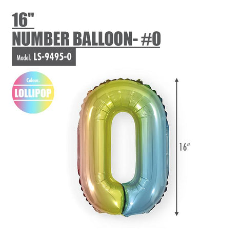 "16"" (inch) Number Balloon - #0 Lollipop - HOUZE - The Homeware Superstore"