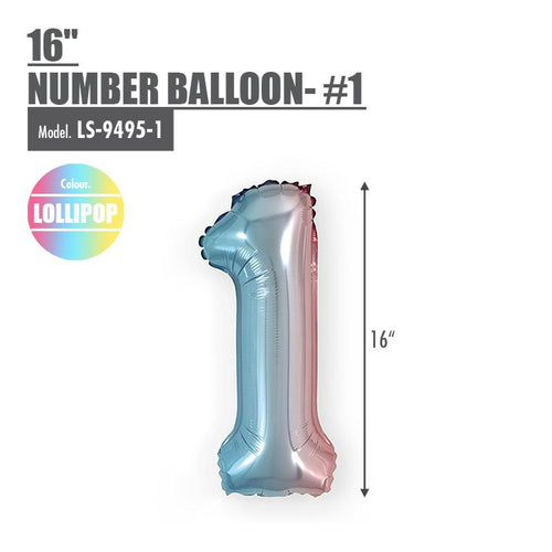 "16"" Number Balloon - #1 Lollipop - HOUZE - The Homeware Superstore"
