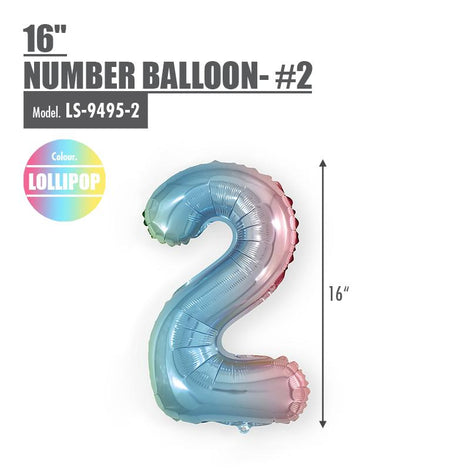 "16"" (inch) Number Balloon - #2 Lollipop - HOUZE - The Homeware Superstore"