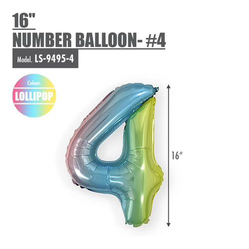 "16"" (inch) Number Balloon - #4 Lollipop - HOUZE - The Homeware Superstore"