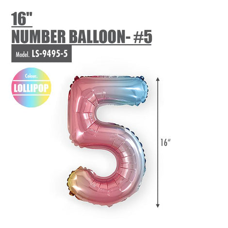 "16"" (inch) Number Balloon - #5 Lollipop - HOUZE - The Homeware Superstore"
