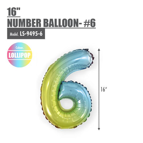 "16"" (inch) Number Balloon - #6 Lollipop - HOUZE - The Homeware Superstore"
