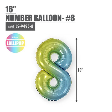 "16"" (inch) Number Balloon - #8 Lollipop - HOUZE - The Homeware Superstore"