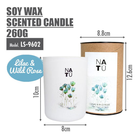 NATU - Soy Wax Scented Candle 260g (Lilac & Wild Rose) - HOUZE - The Homeware Superstore