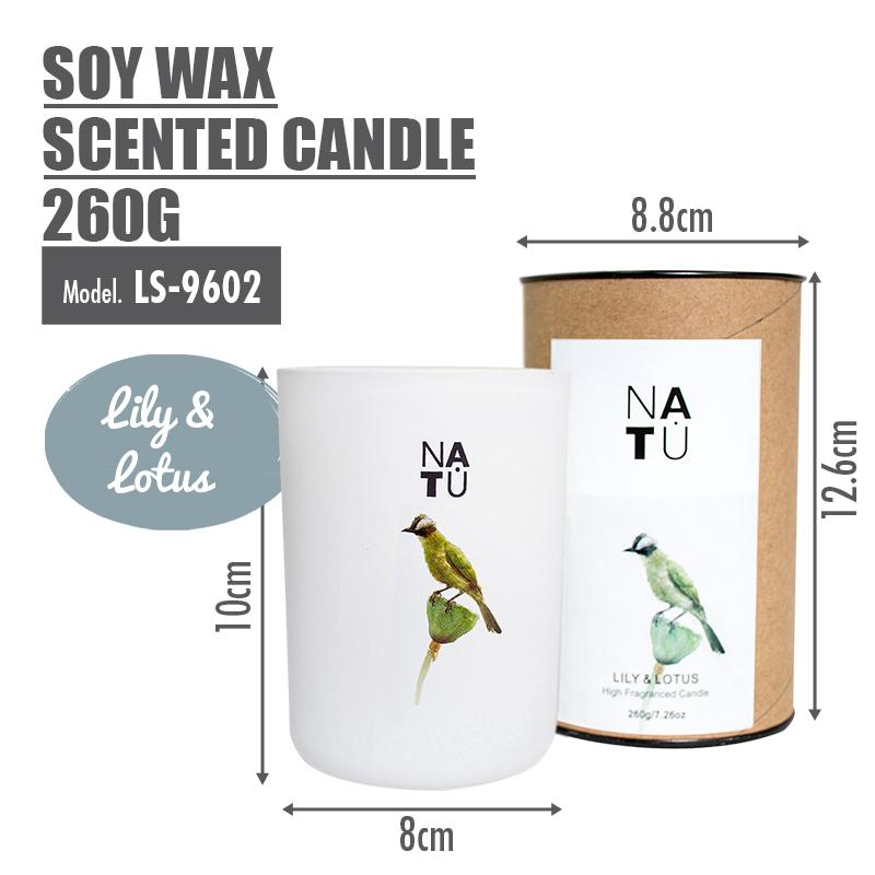 NATU - Soy Wax Scented Candle 260g (Lily & Lotus) - HOUZE - The Homeware Superstore