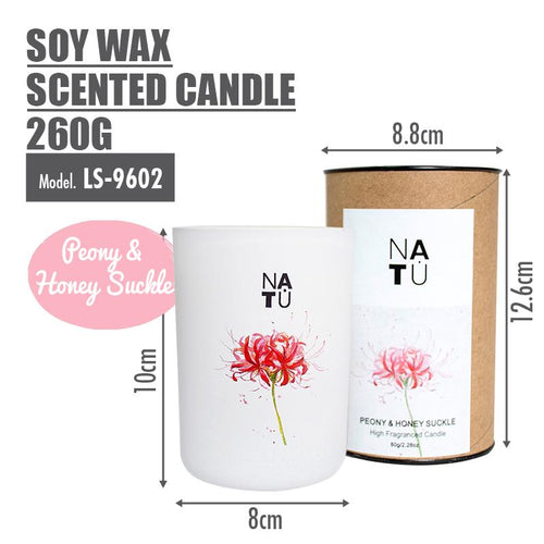 NATU - Soy Wax Scented Candle 260g (Peony & Honey Suckle) - HOUZE - The Homeware Superstore
