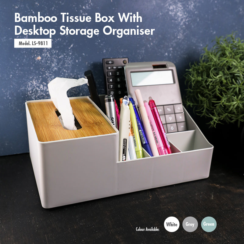 Bamboo Tissue Box With Desktop Storage Organiser (White) - HOUZE - The Homeware Superstore