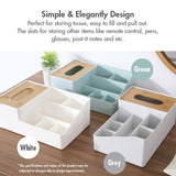 Bamboo Tissue Box With Desktop Storage Organiser (Grey) - HOUZE - The Homeware Superstore