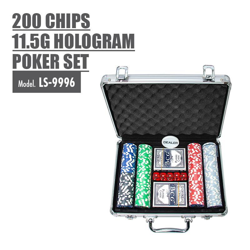 200 Chips 11.5g Hologram Poker Set - HOUZE - The Homeware Superstore