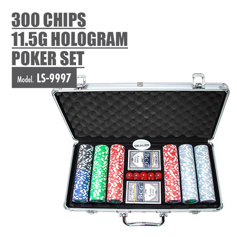 300 Chips 11.5g Hologram Poker Set - HOUZE - The Homeware Superstore