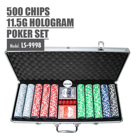 500 Chips 11.5g Hologram Poker Set - HOUZE - The Homeware Superstore