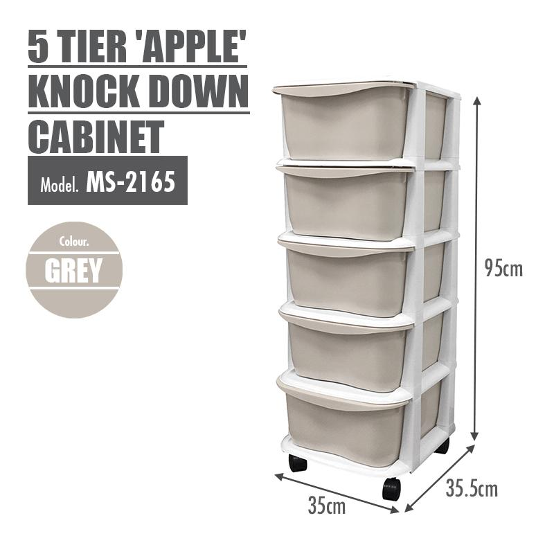 LIFE - 5 Tier 'Apple' Knock Down Cabinet (Grey) - HOUZE - The Homeware Superstore