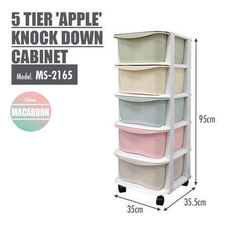 LIFE 5 Tier 'Apple' Knock Down Cabinet (Macaroon)
