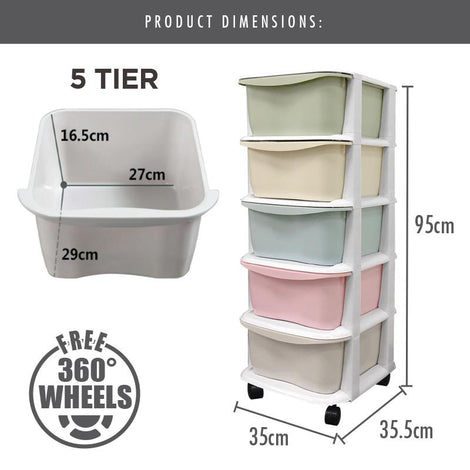 LIFE - 5 Tier 'Apple' Knock Down Cabinet (Grey)