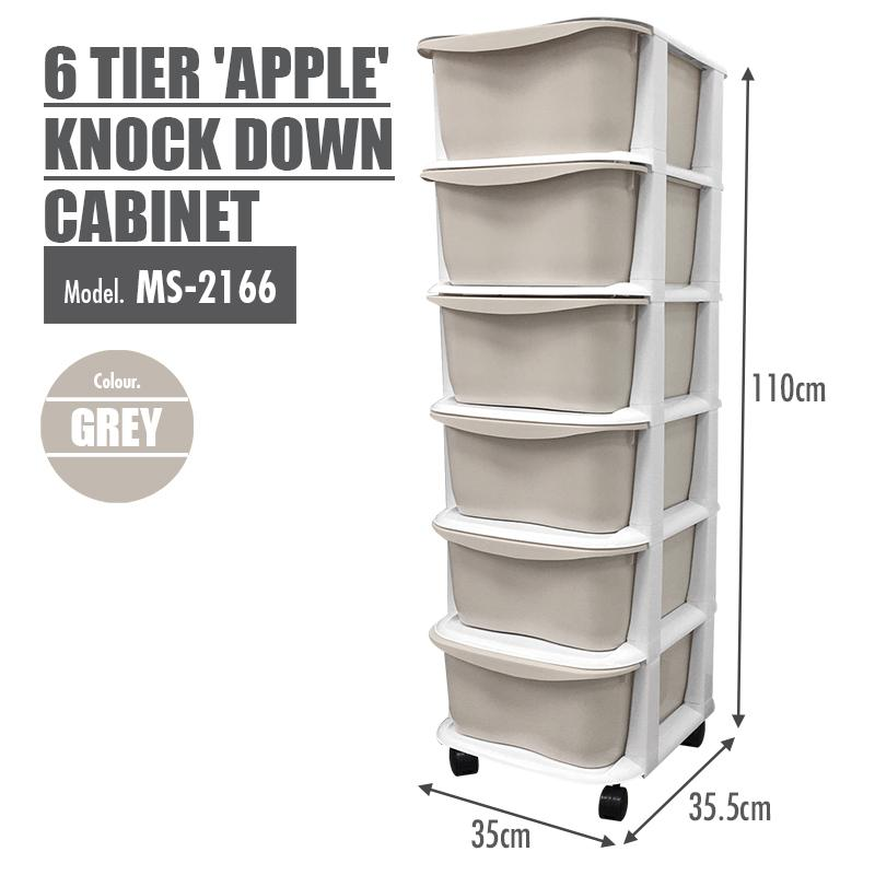 LIFE - 6 Tier 'Apple' Knock Down Cabinet (Grey) - HOUZE - The Homeware Superstore