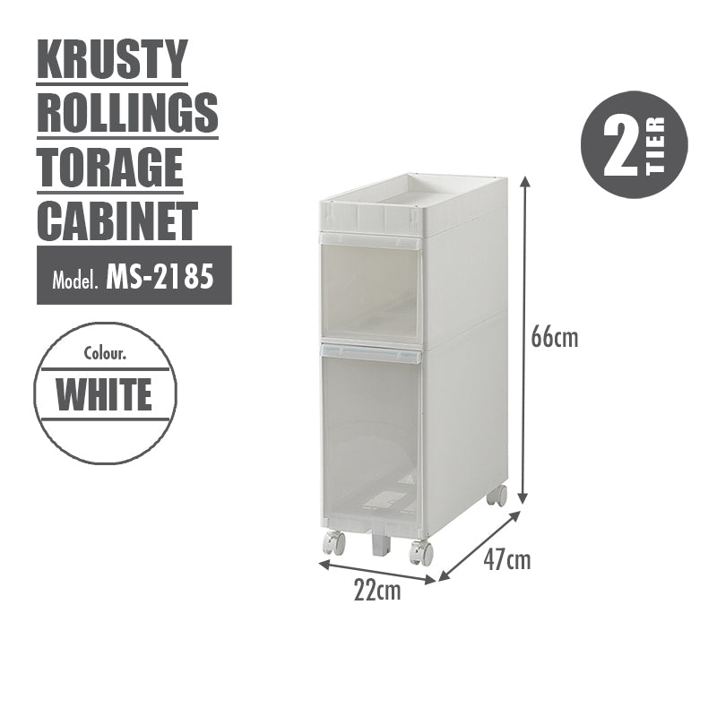 KRUSTY - 2 Tier Rolling Storage Cabinet - HOUZE - The Homeware Superstore